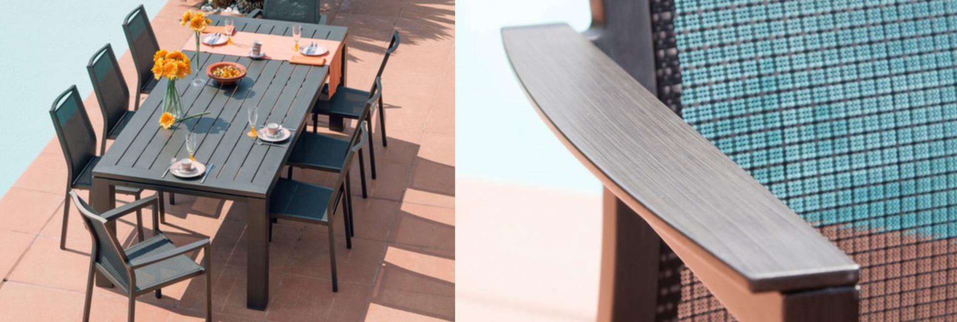 ENSEMBLE TABLE LATINO 240 CM + 6 CHAISES ET 2 FAUTEUILS IDA