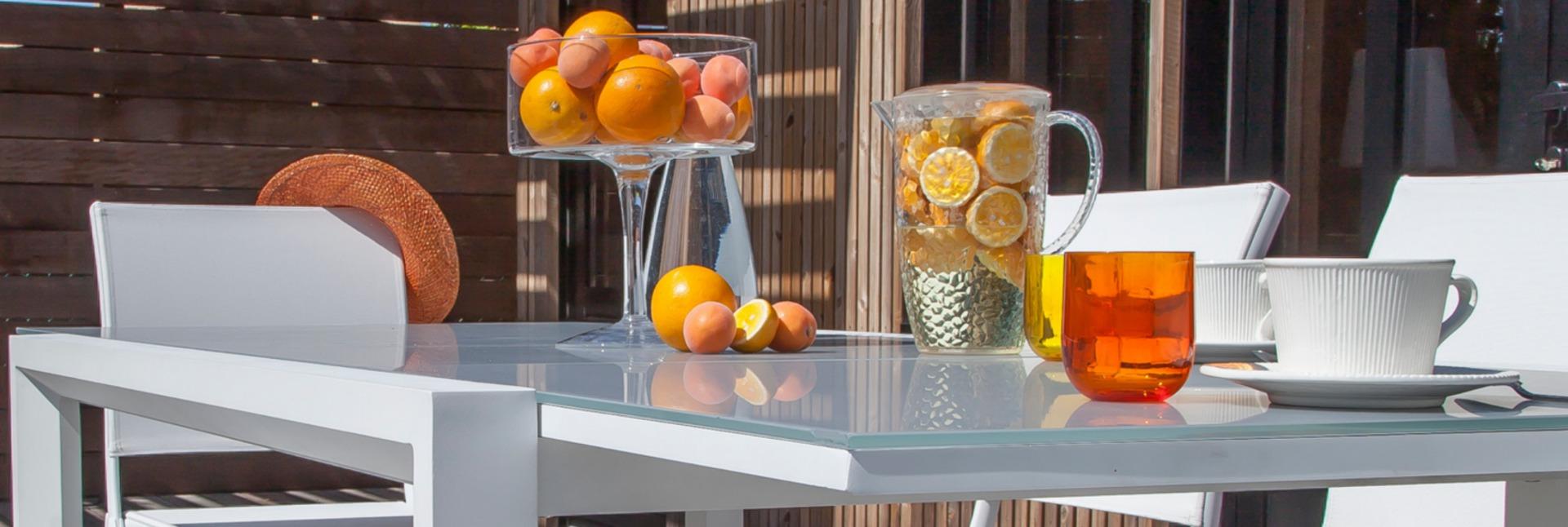 Table Juan 160/240 cm plateau verre blanc