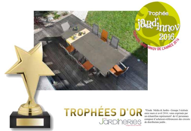 Trophée d'or Jard'innov 2016 pour la table FLO 200/300 HPL TRESPA®