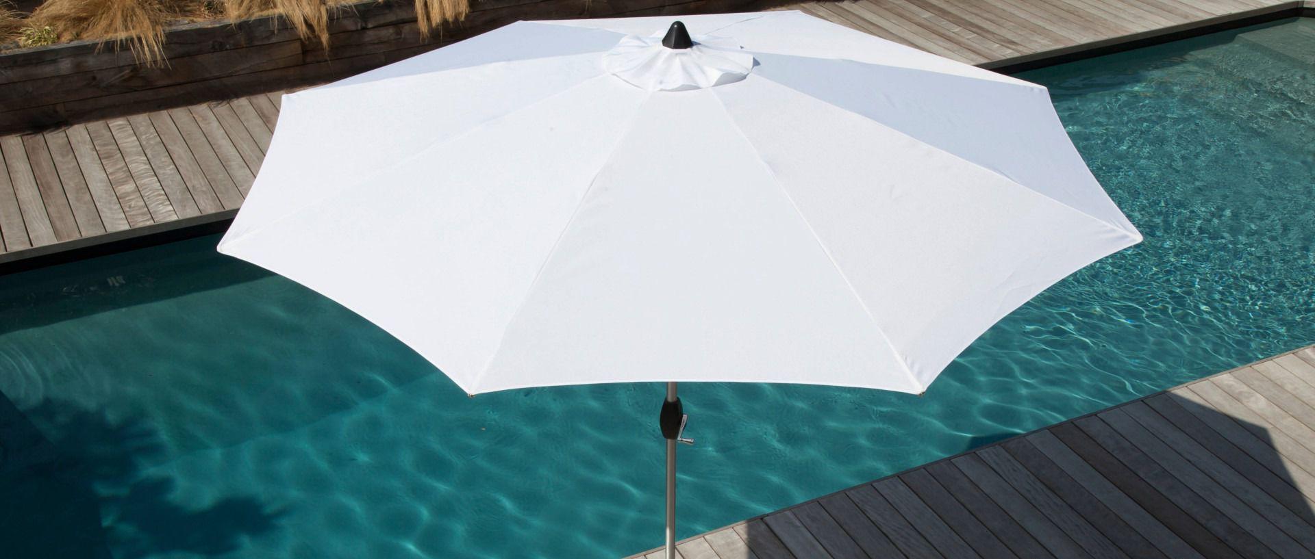 Bannière Ombrage - Parasol droit anodisé blanc
