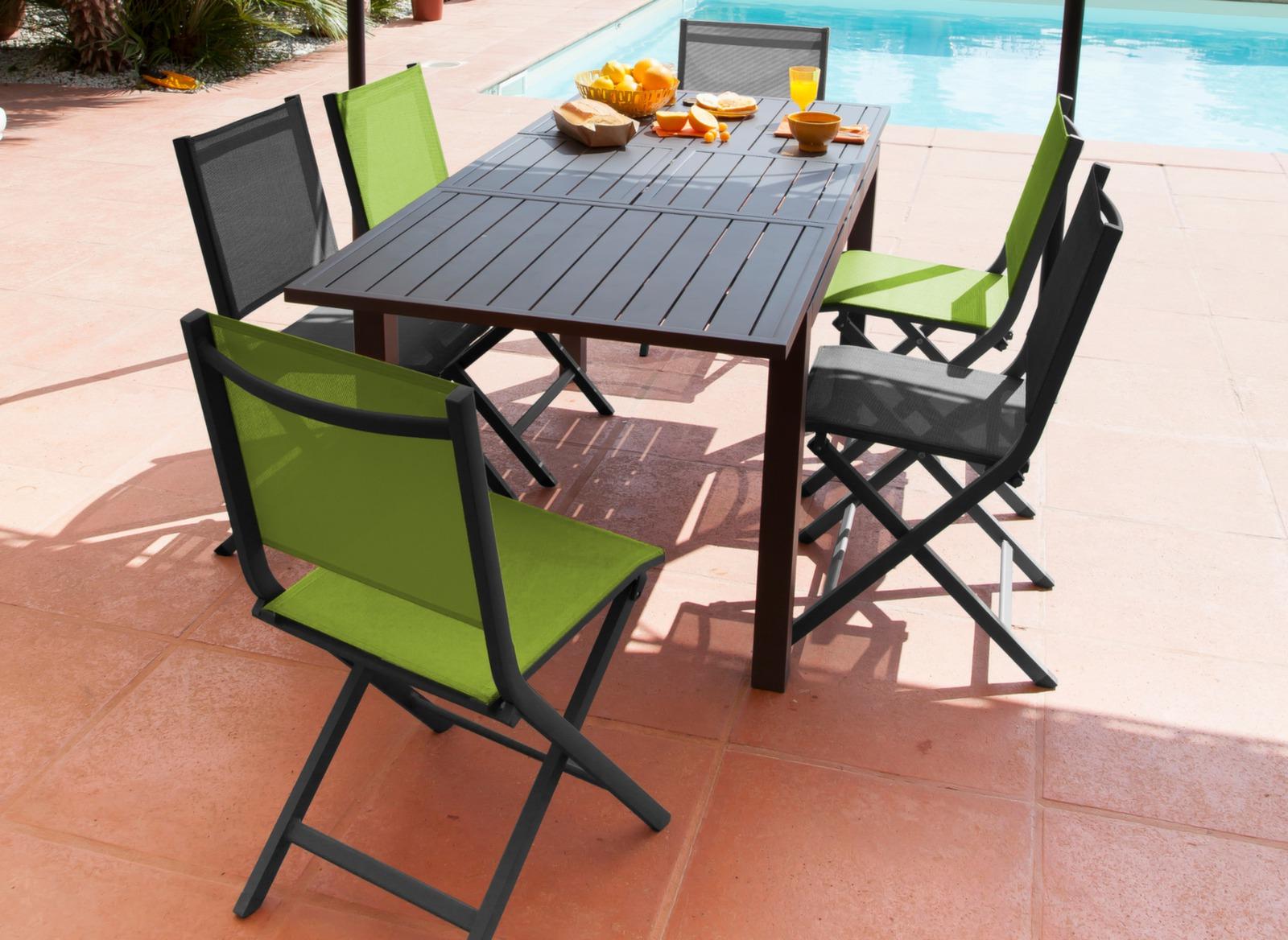 Salon de jardin aluminium, table et 6 chaises pliantes - Proloisirs