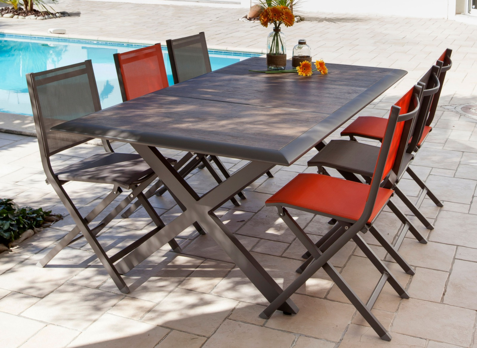 Table de jardin style atelier c ram 198cm proloisirs for Table de jardin conforama