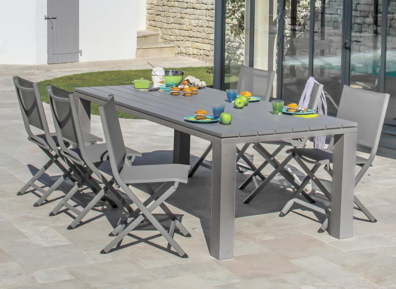 Table de jardin rectangle elena 220cm proloisirs - Table de jardin jardiland ...