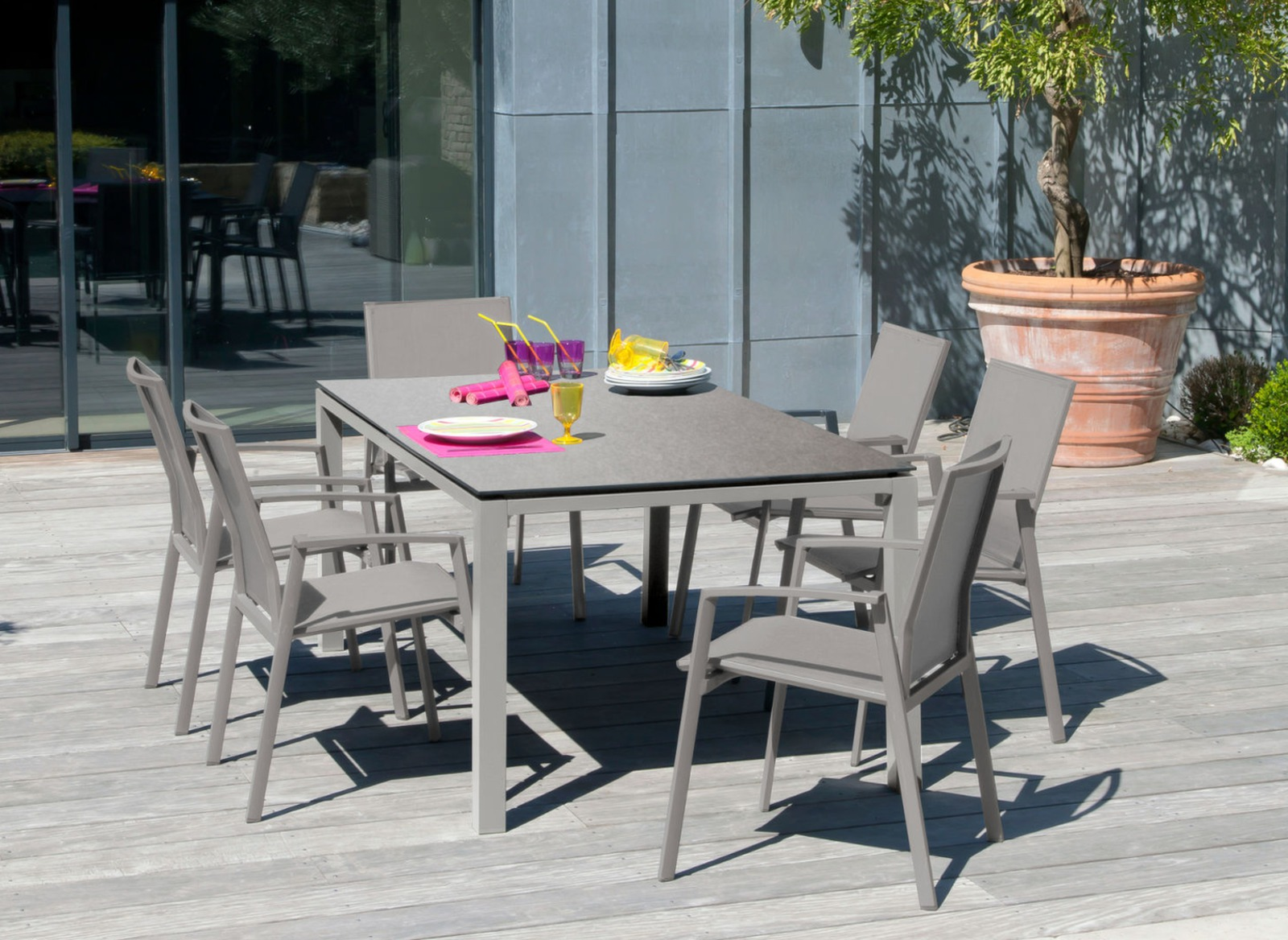 table de jardin stoneo 180cm plateau hpl meubles jardin proloisirs. Black Bedroom Furniture Sets. Home Design Ideas