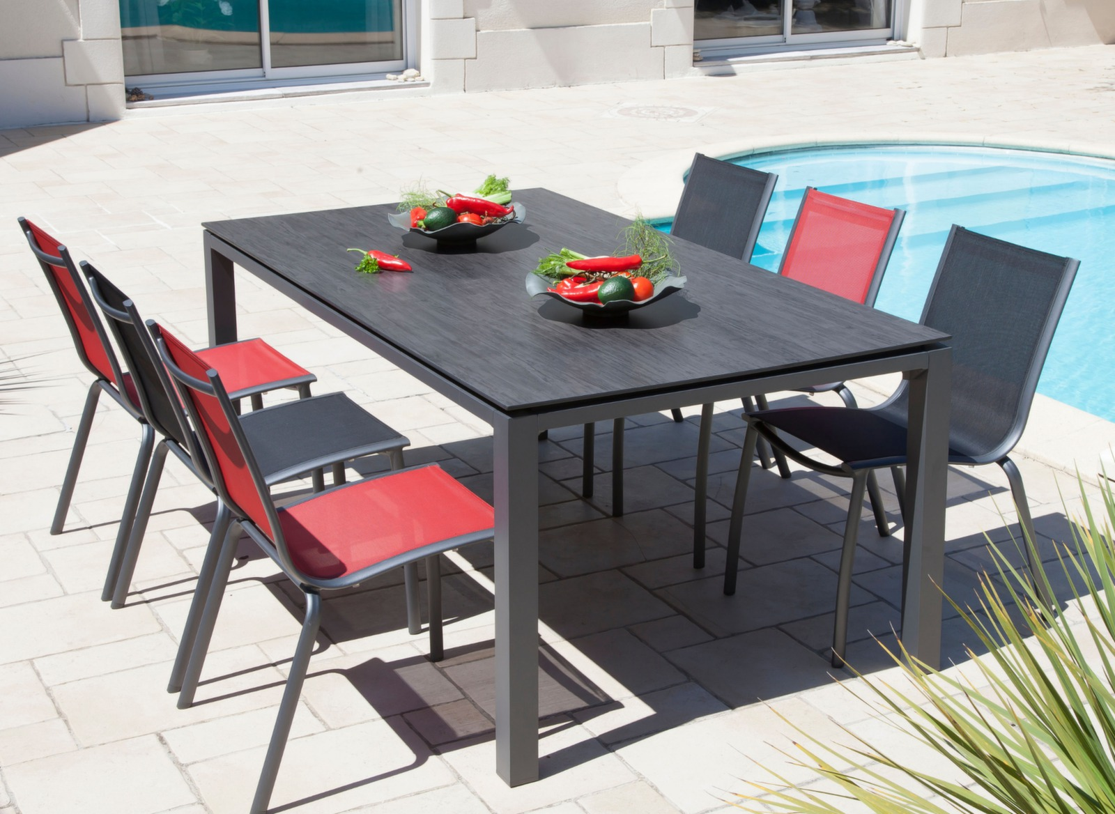 table de jardin stoneo 210cm plateau hpl meubles jardin proloisirs. Black Bedroom Furniture Sets. Home Design Ideas