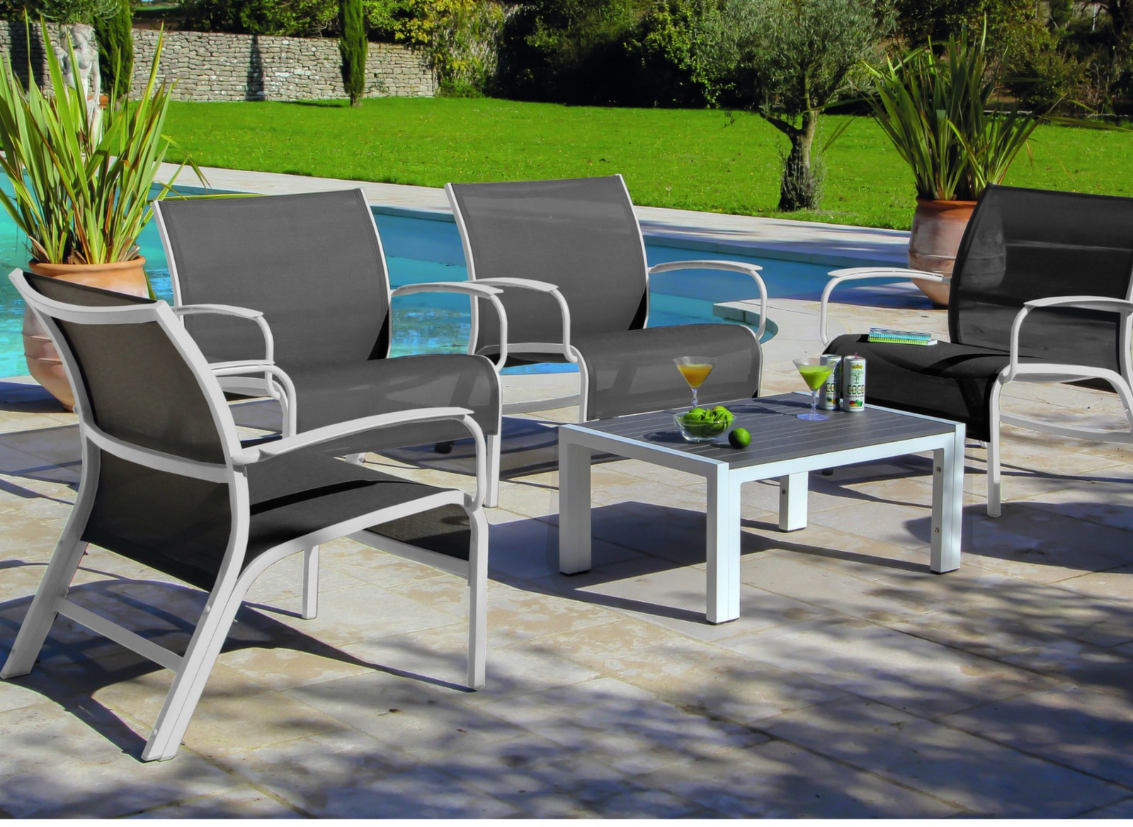 Set lounge linea blanc argent salons bas de jardin for Salon de jardin detente