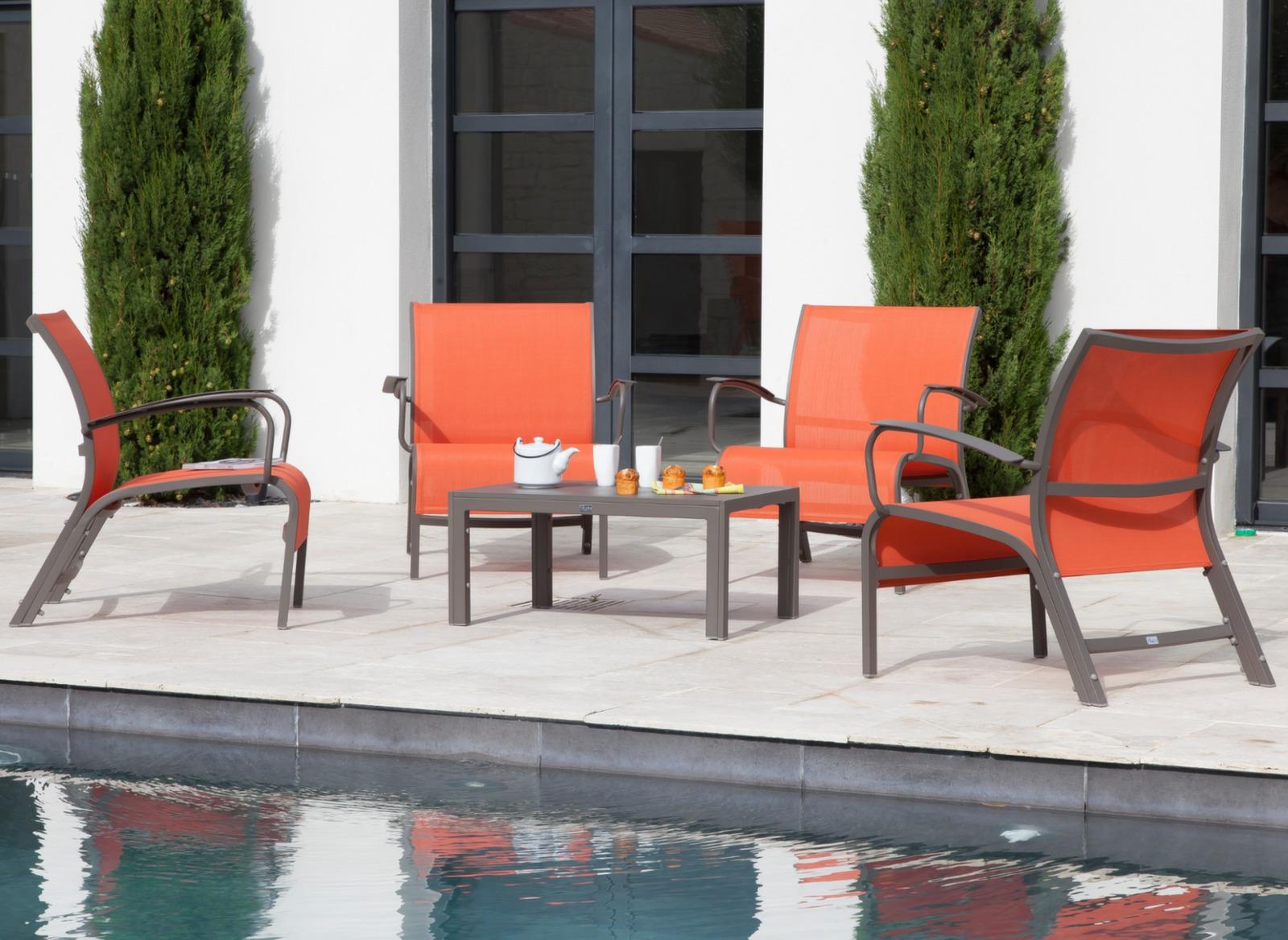 salon lounge aluminium textil ne linea meubles jardin. Black Bedroom Furniture Sets. Home Design Ideas