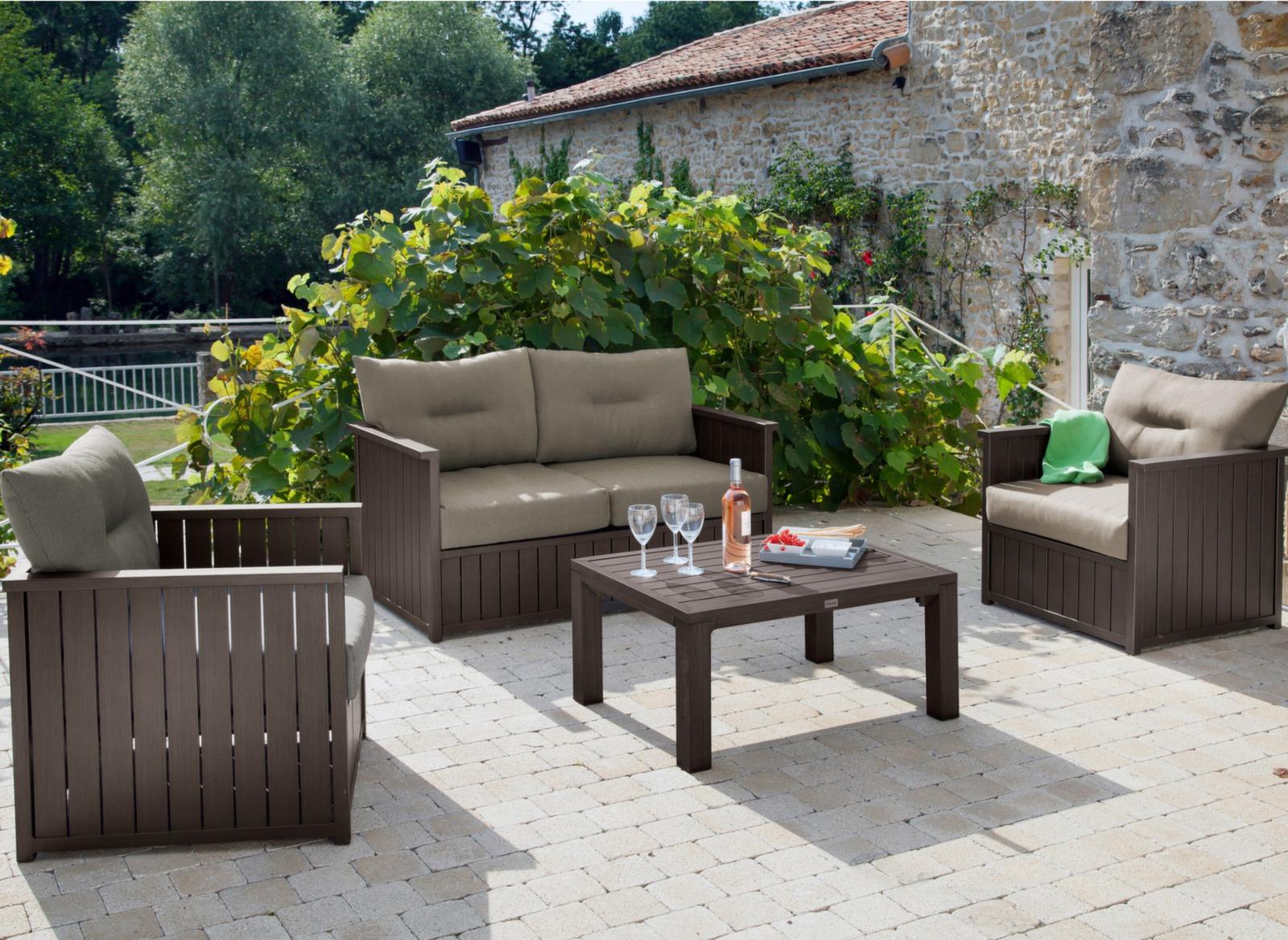 Canapé 2 places + table basse Milano - Mobilier de jardin Proloisirs