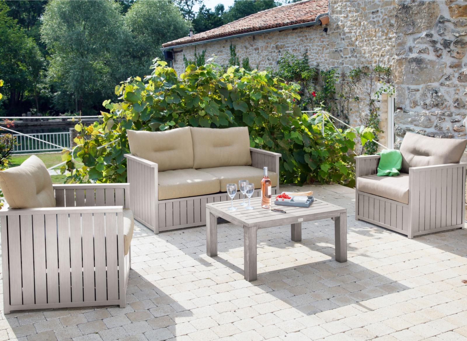Canapé 2 places + table basse Milano - Mobilier de jardin ...