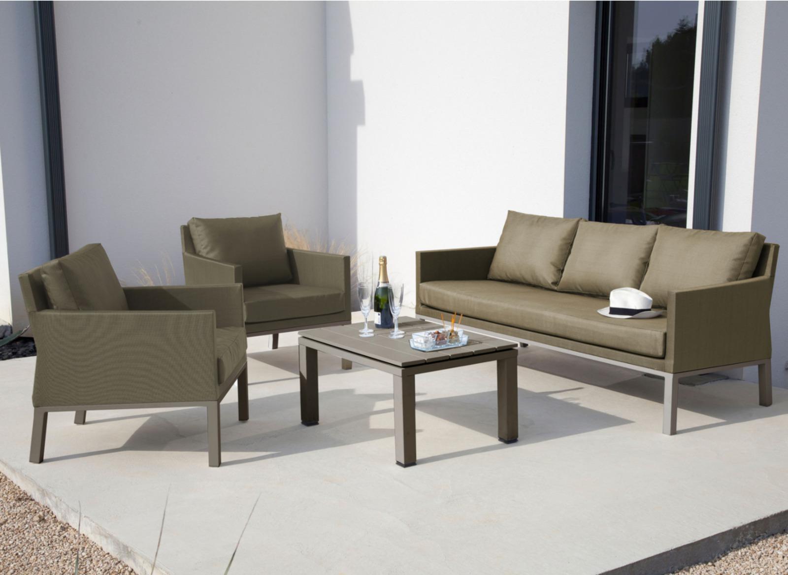 Salon de jardin canapé, fauteuils + table basse Oslo - Proloisirs