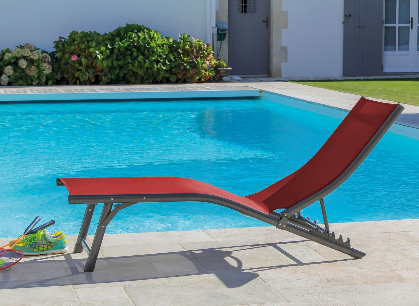 Transat de jardin fuji en aluminium proloisirs for Transat relax basculant