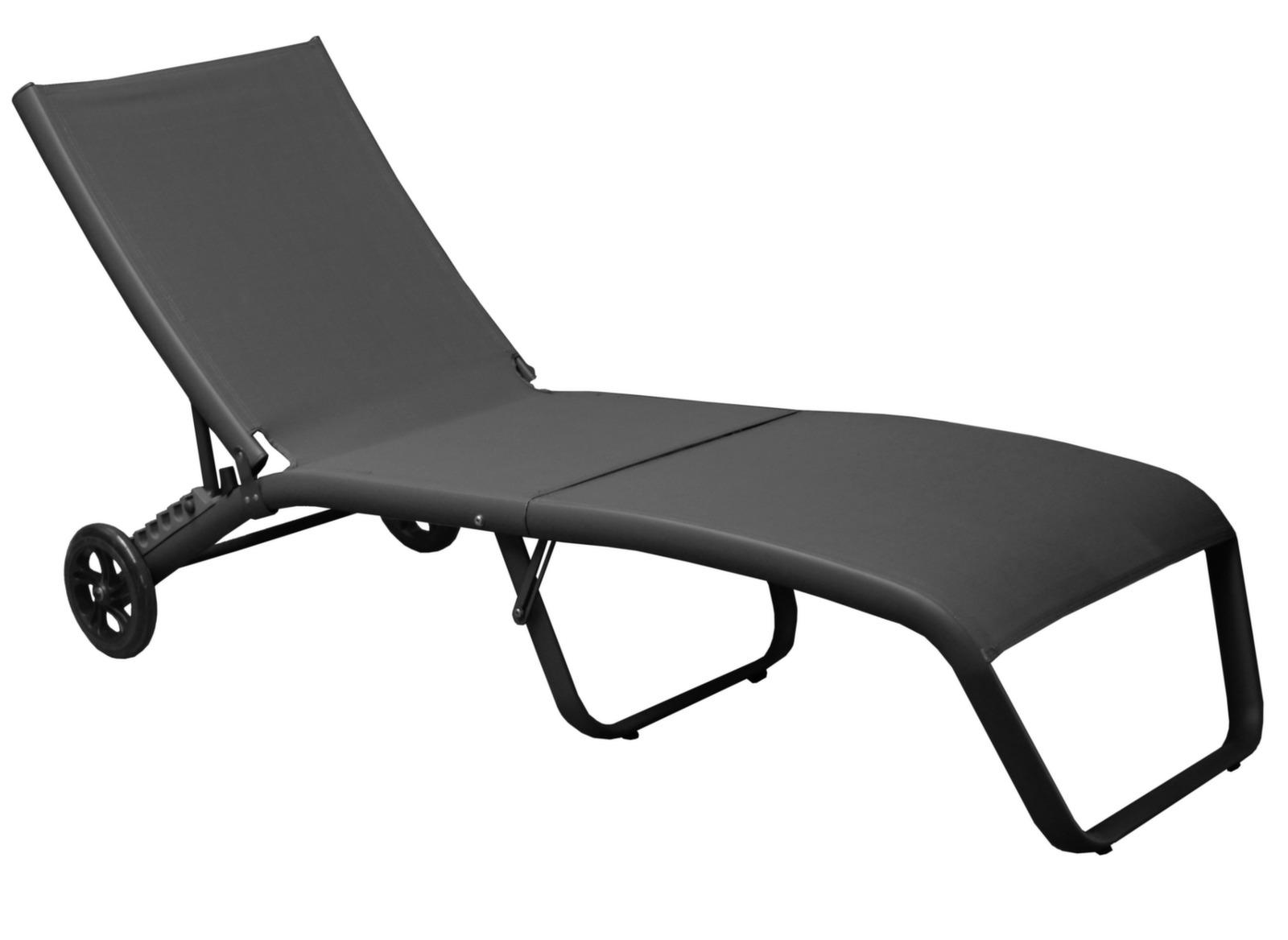 lit de soleil pliant en alu et toile roues proloisirs. Black Bedroom Furniture Sets. Home Design Ideas