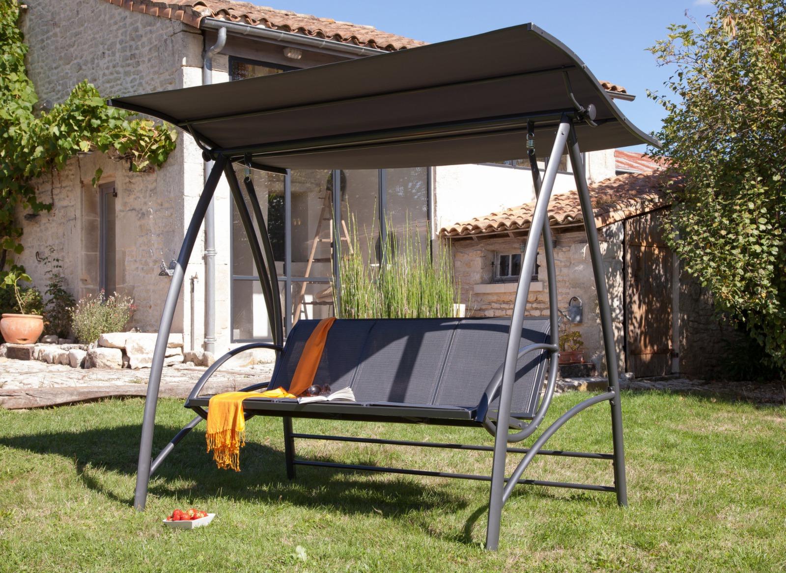 balancelle de jardin alu et textil ne gris proloisirs. Black Bedroom Furniture Sets. Home Design Ideas