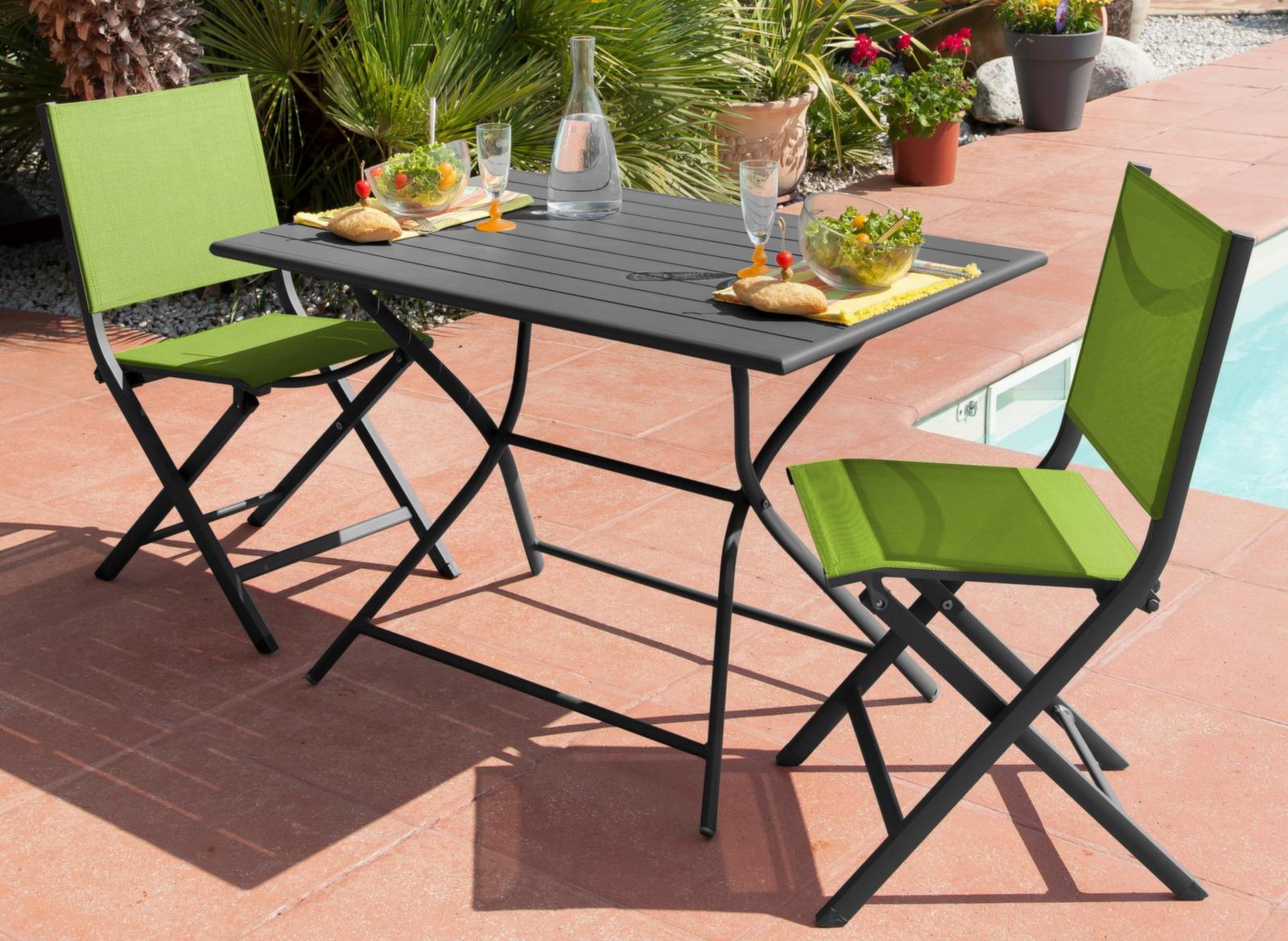 Chaise de jardin grise rouge thema mobilier de jardin proloisirs - Mobilier jardin rouge besancon ...