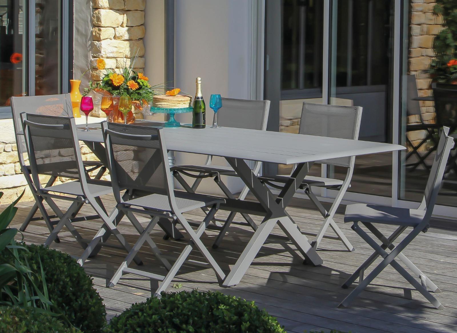 table de jardin rectangle bridge 220 cm proloisirs. Black Bedroom Furniture Sets. Home Design Ideas