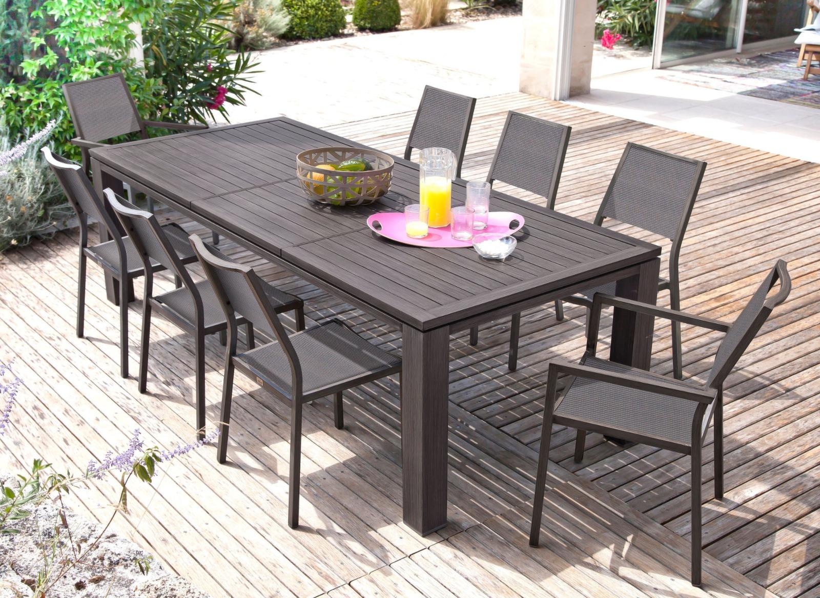 Chaise florence finition brush meuble de jardin proloisirs for Table exterieur design aluminium
