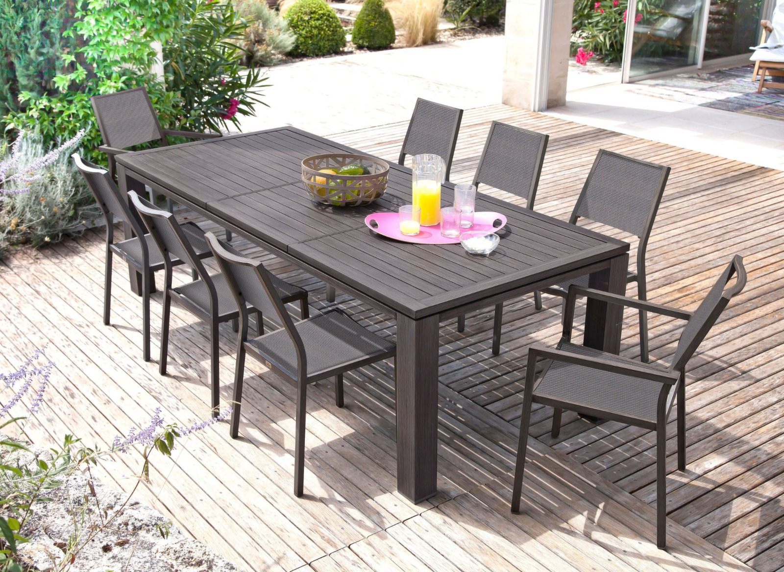 Grande table de jardin rectangle fiero proloisirs - Mobilier de jardin soldes ...