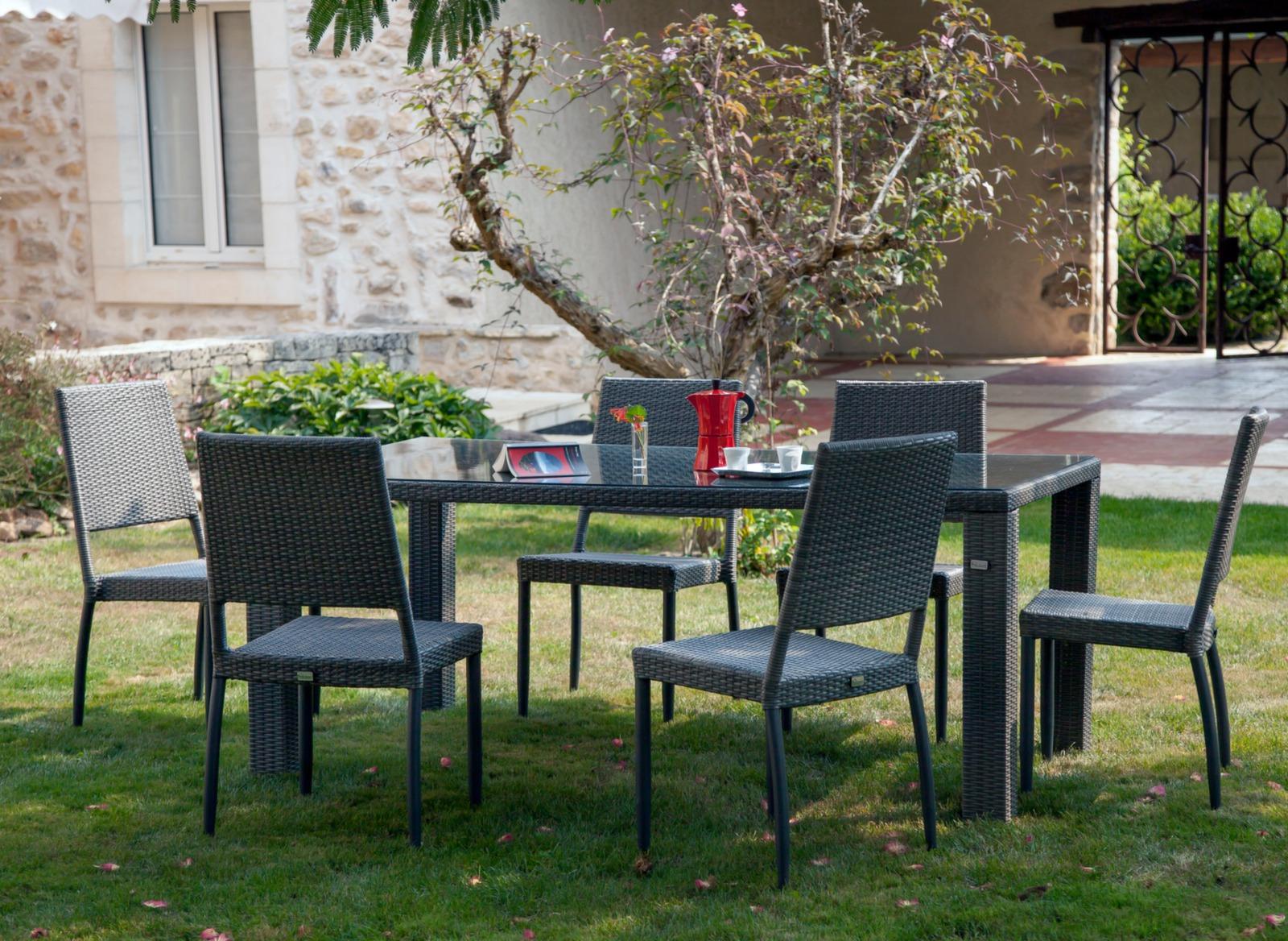 Table de jardin r sine et verre tremp faro proloisirs for Faros para jardin