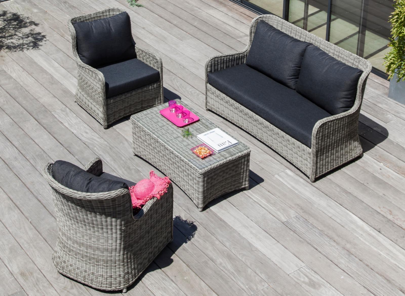 Salon bas de jardin canap fauteuils denver proloisirs - Salon de detente resine ...