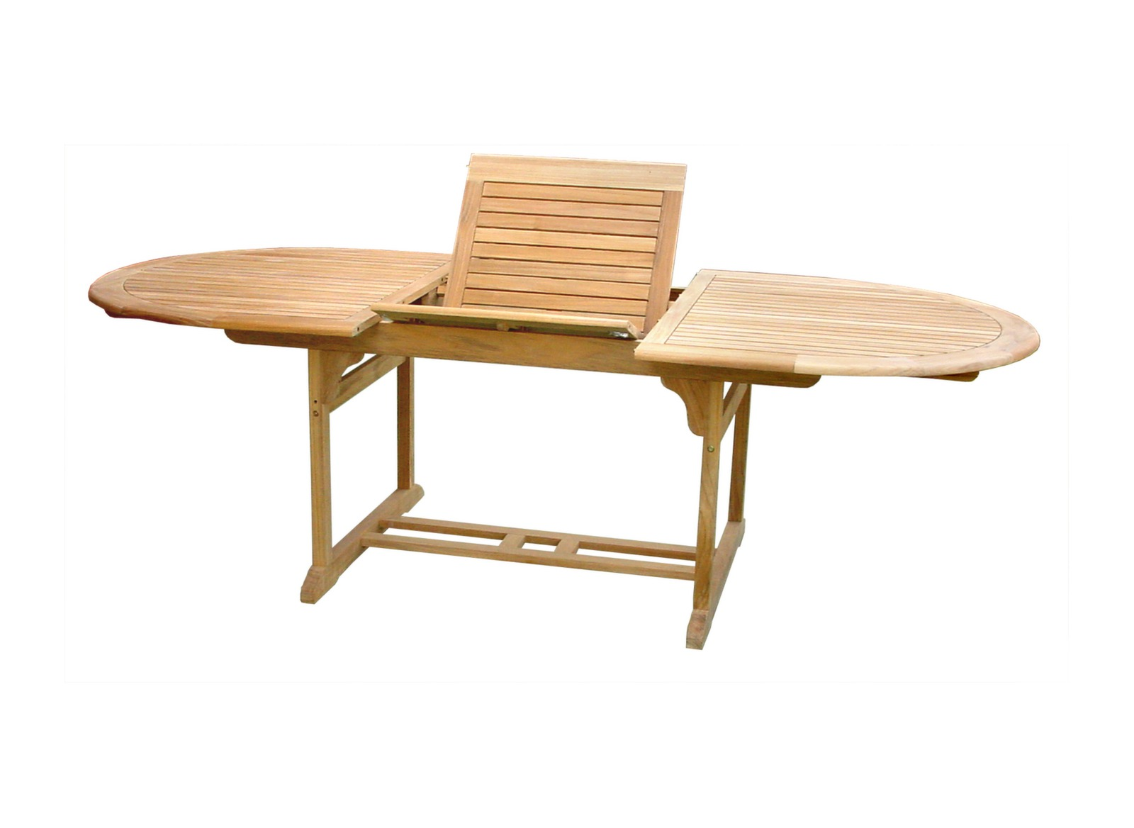 Table de jardin arrondie en teck hampton proloisirs for Table jardin en teck