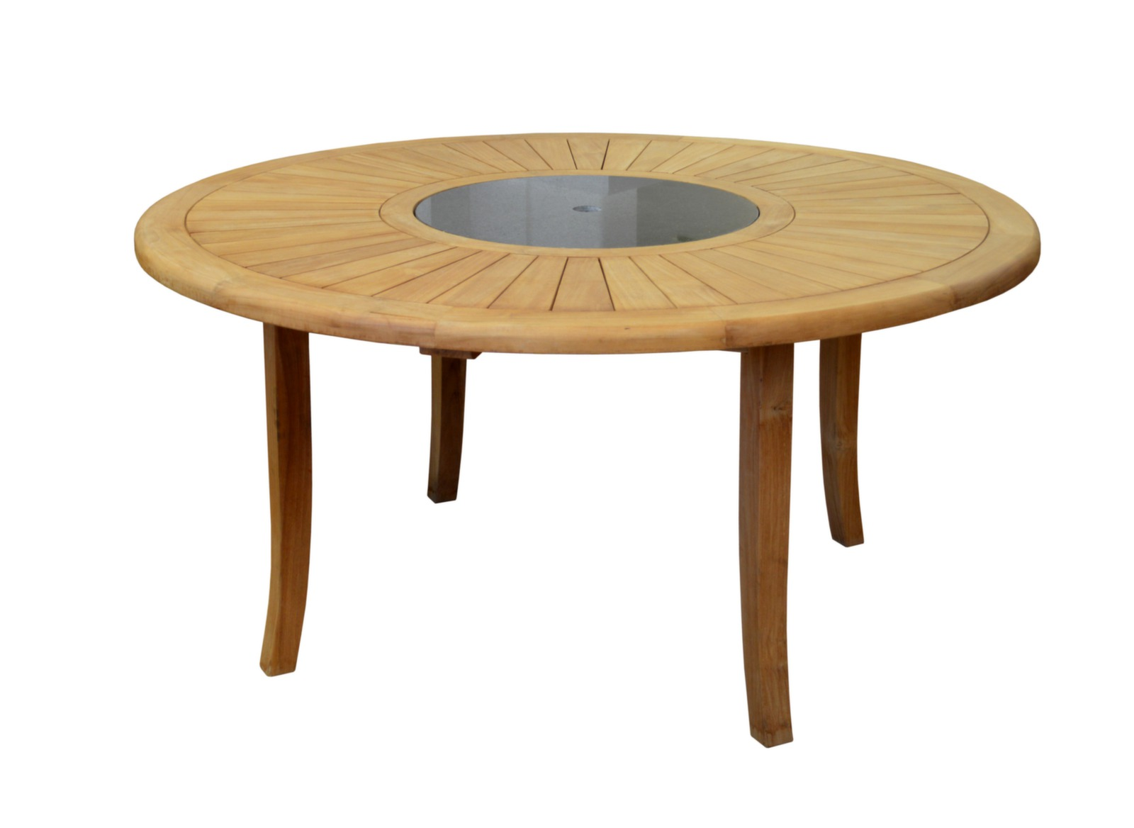 Beautiful table de jardin ronde en bois avec plateau for Table jardin ronde