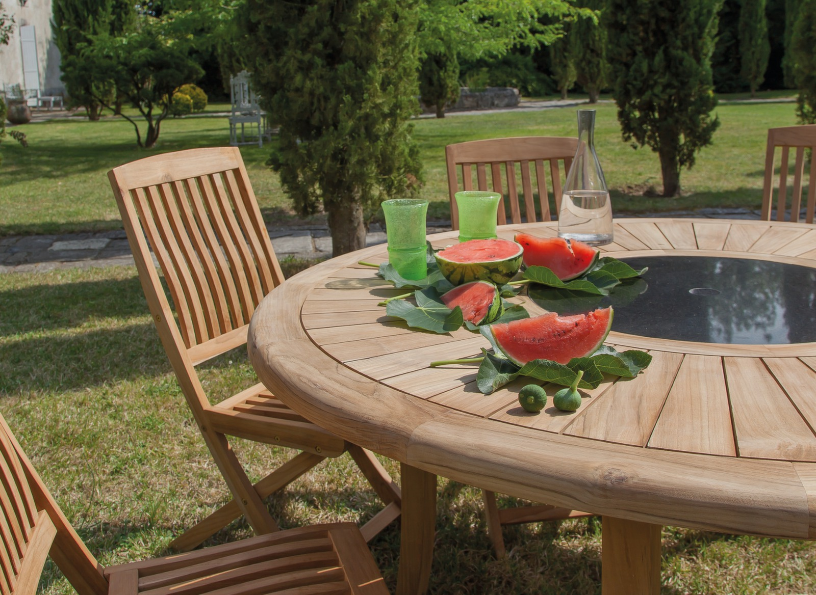 Salon jardin table ronde br hat 6 chaises proloisirs for Table ronde avec 6 chaises