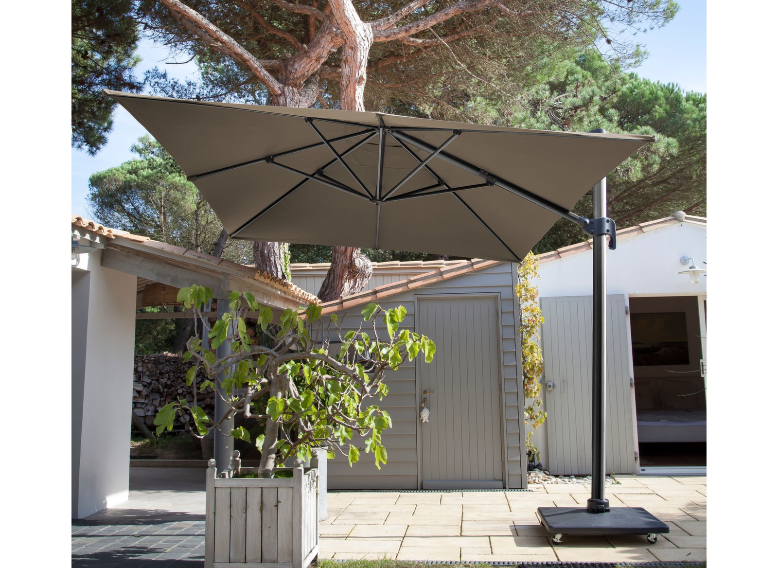 parasol d port rectangle 3x4m inclinable avec m t gris. Black Bedroom Furniture Sets. Home Design Ideas