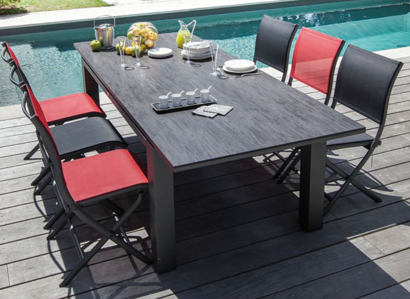 table de jardin allonge centrale plateau hpl flo oc o. Black Bedroom Furniture Sets. Home Design Ideas