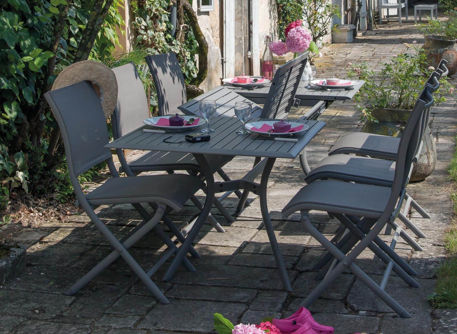 Salon de jardin table Séville + 6 chaises Élégance Océo - Proloisirs