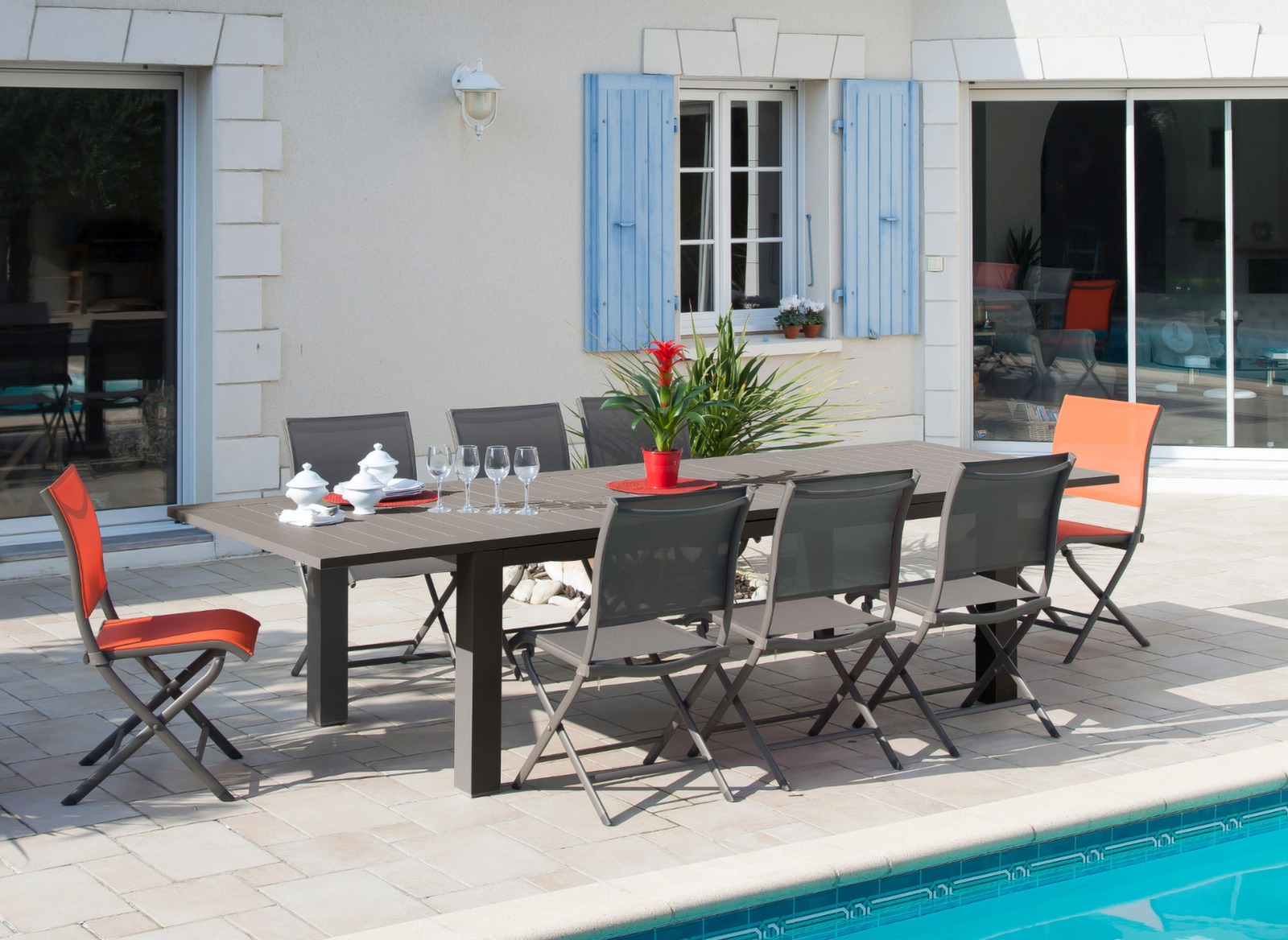 Grande table de jardin marron Aurore + 6 chaises Océo - Proloisirs