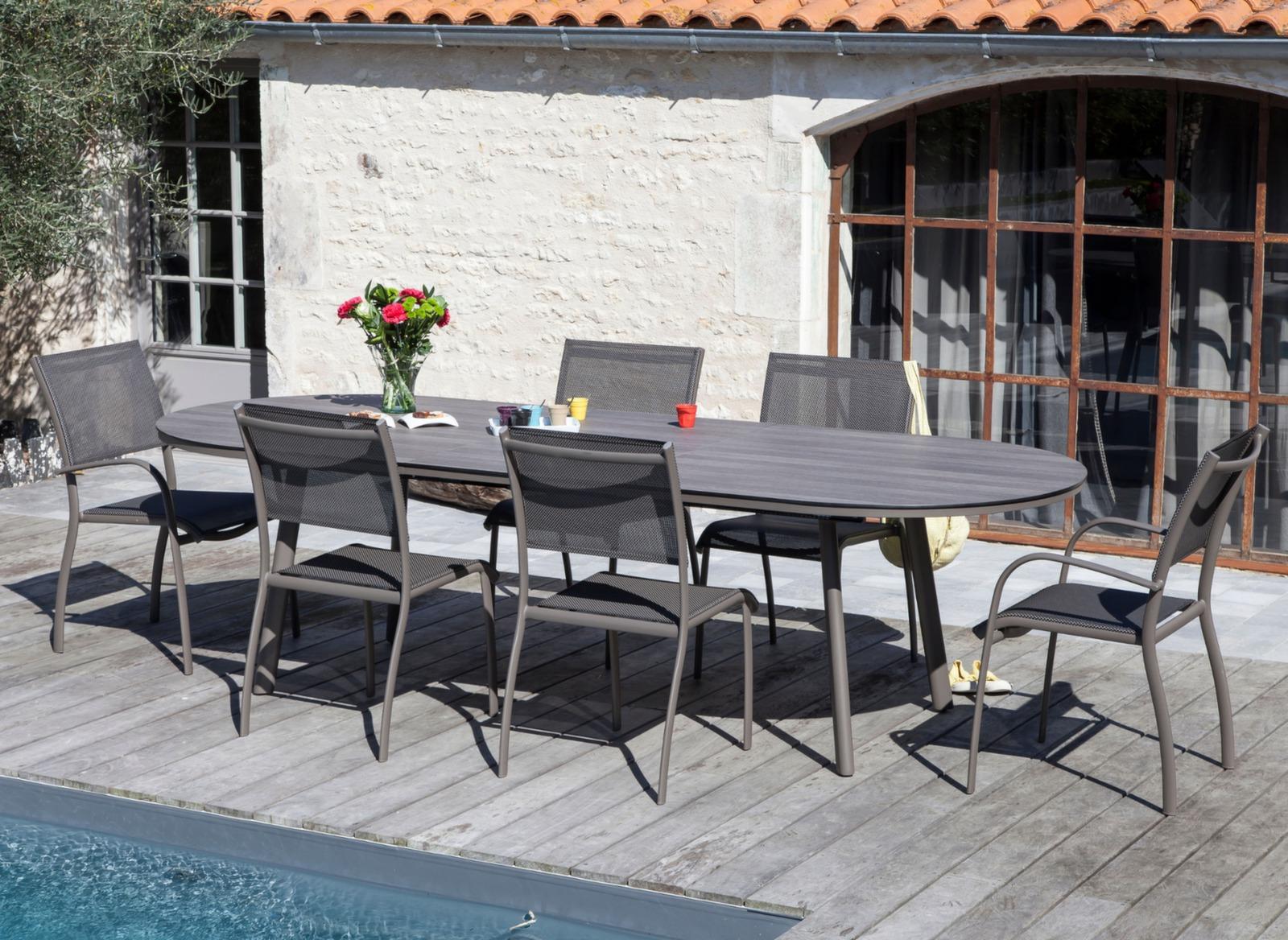 Table bilbao 220 280 cm plateau trespa mobilier de jardin pour le repas promotions bons - Mobilier de jardin montpellier ...
