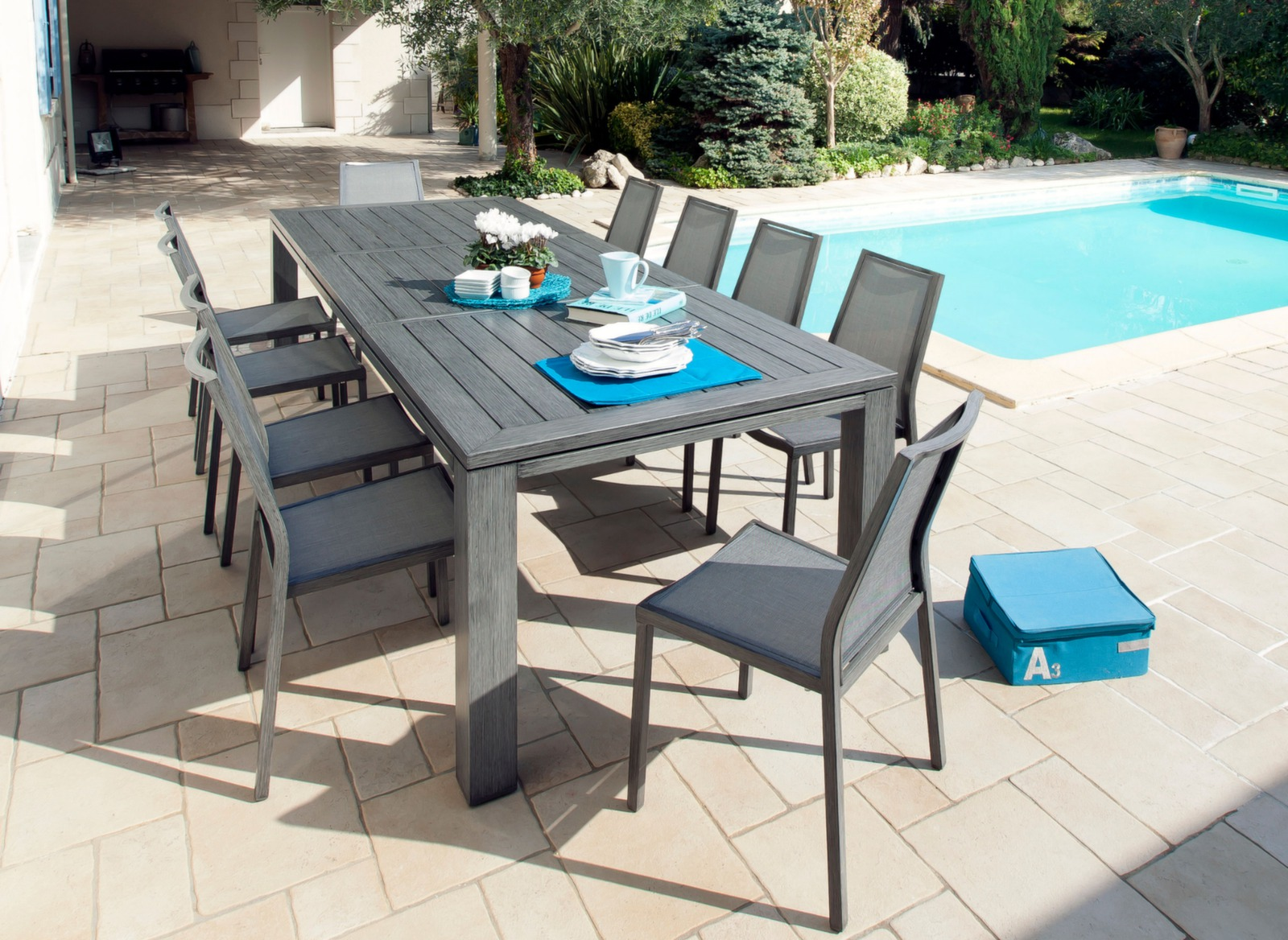 Salon jardin table latino 200 300 8 chaises ida oc o for Salon de jardin 10 personnes