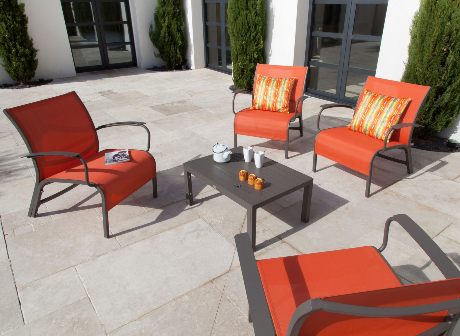Salon lounge aluminium textil ne linea meubles jardin for Salon de jardin detente