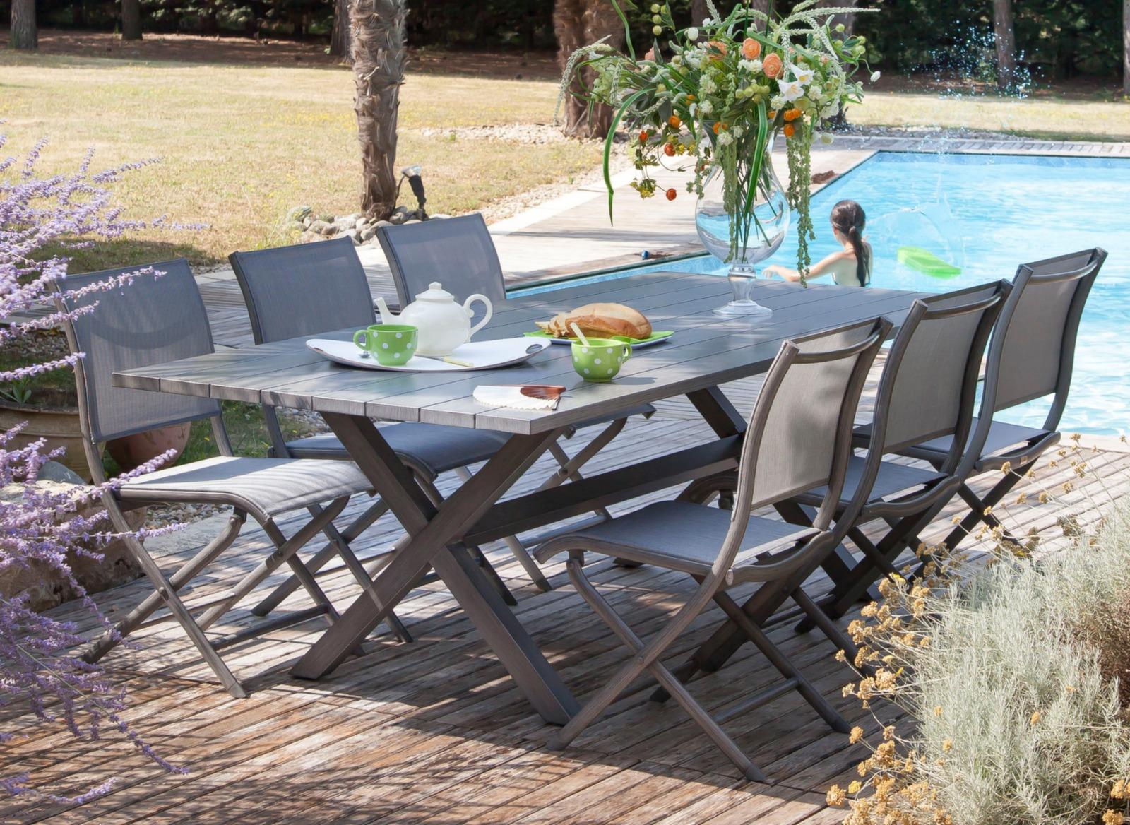 Table de jardin crossway grise 6 chaises el gance oc o for Table de jardin grise