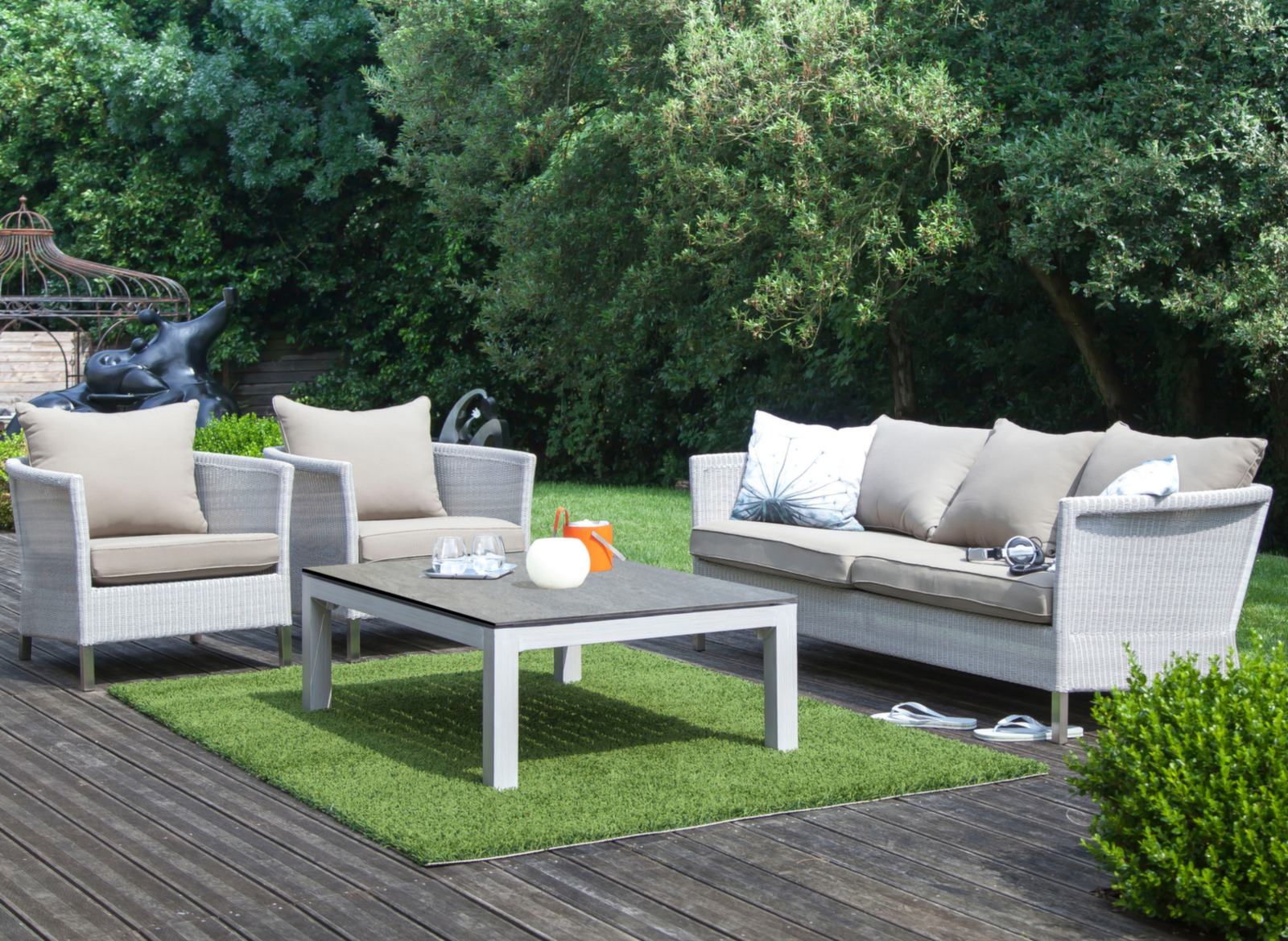 Fauteuil Jardin Taupe R Sine Coussins Thyme Oc O