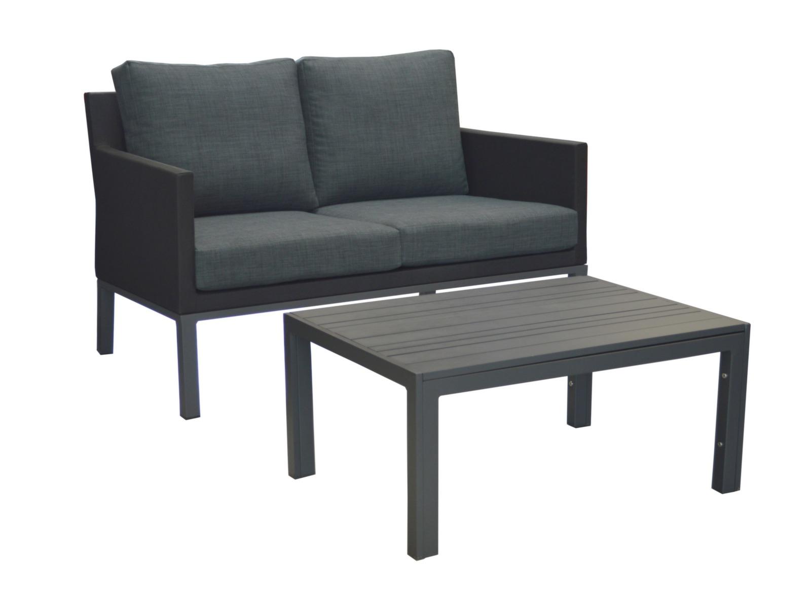 Canapé de jardin 2 pl + table basse Bergen - Gamme Océo - Proloisirs