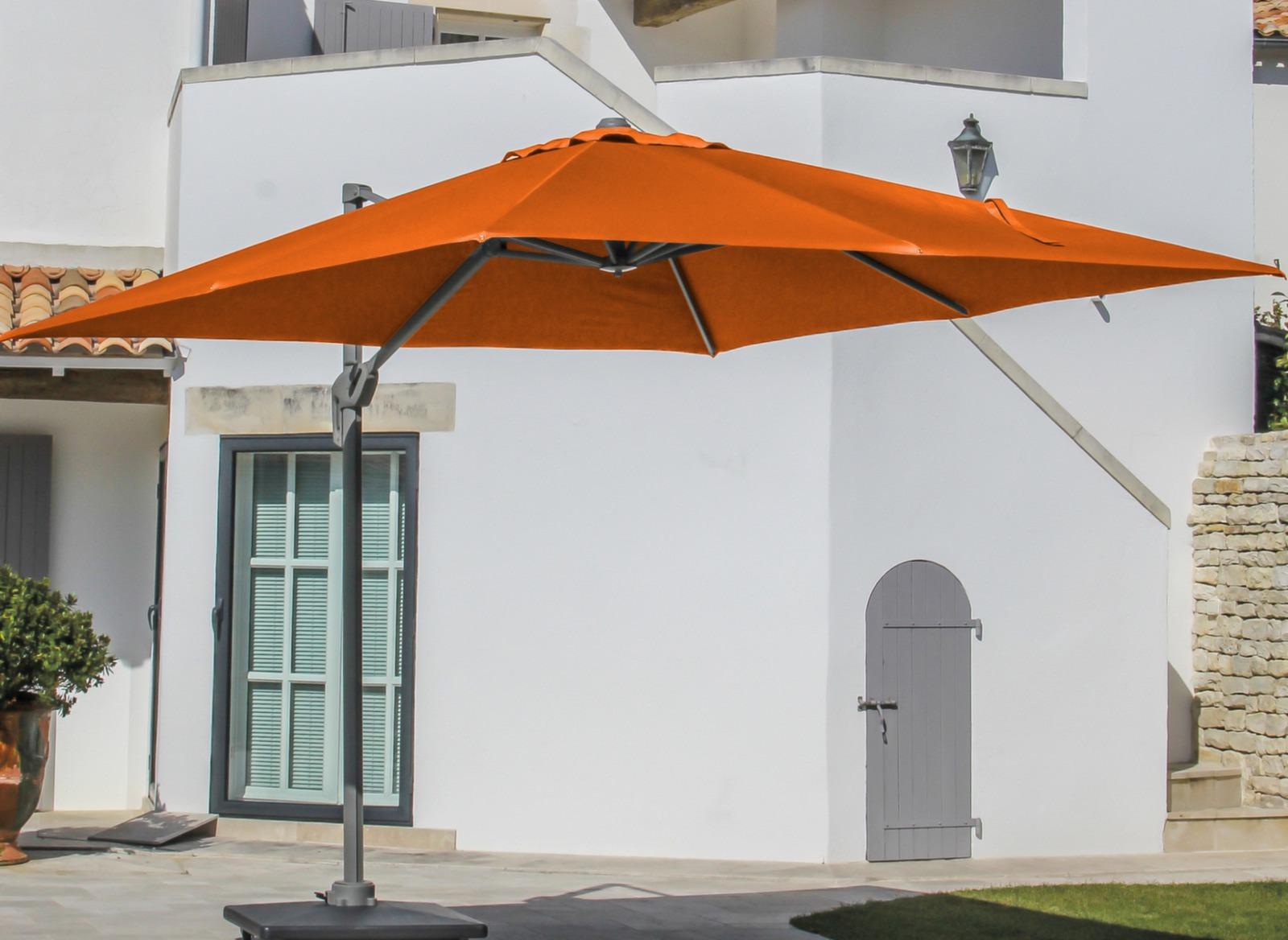 parasol d port carr orange 3x3m avec m t taupe oc o. Black Bedroom Furniture Sets. Home Design Ideas