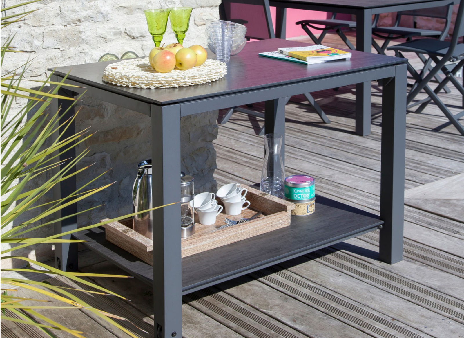 table desserte de jardin plancha 2 niv mobilier jardin proloisirs. Black Bedroom Furniture Sets. Home Design Ideas