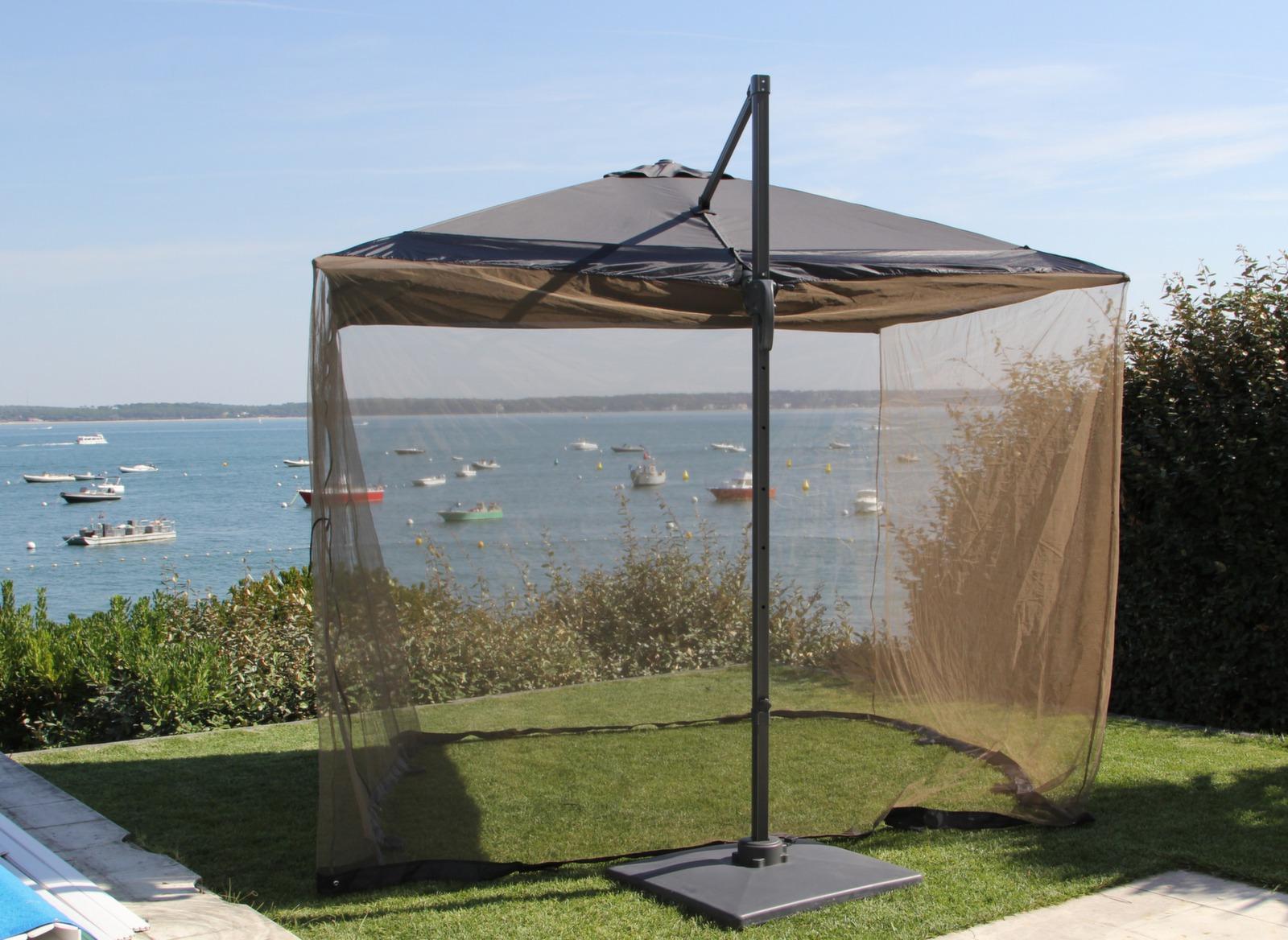 Moustiquaire pour parasol déporté 3 x 3 m