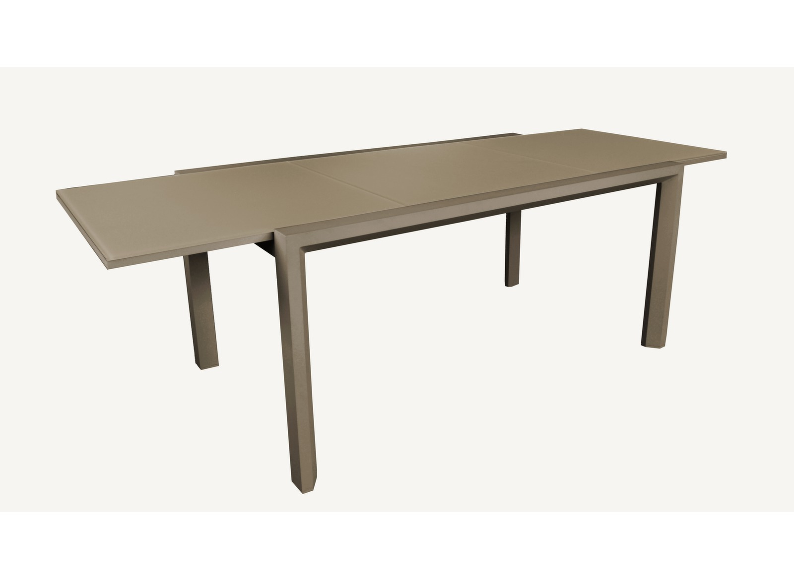 Table Juan 160/240 cm, plateau verre