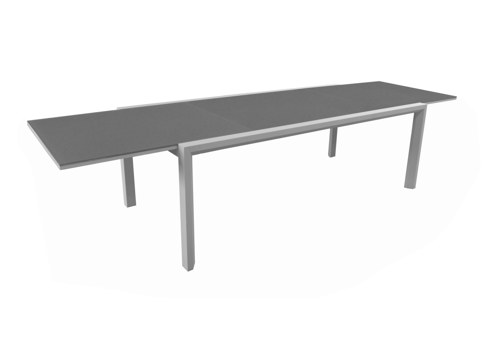 Table Juan 220/340 cm, plateau verre