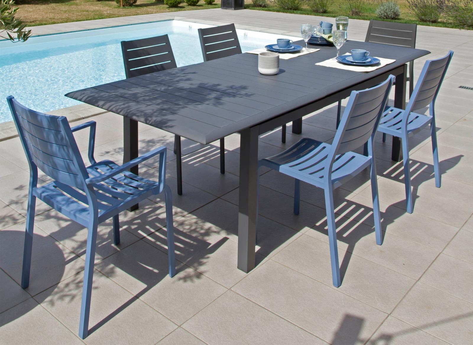 Salon de jardin table extensible + 6 chaises - Proloisirs