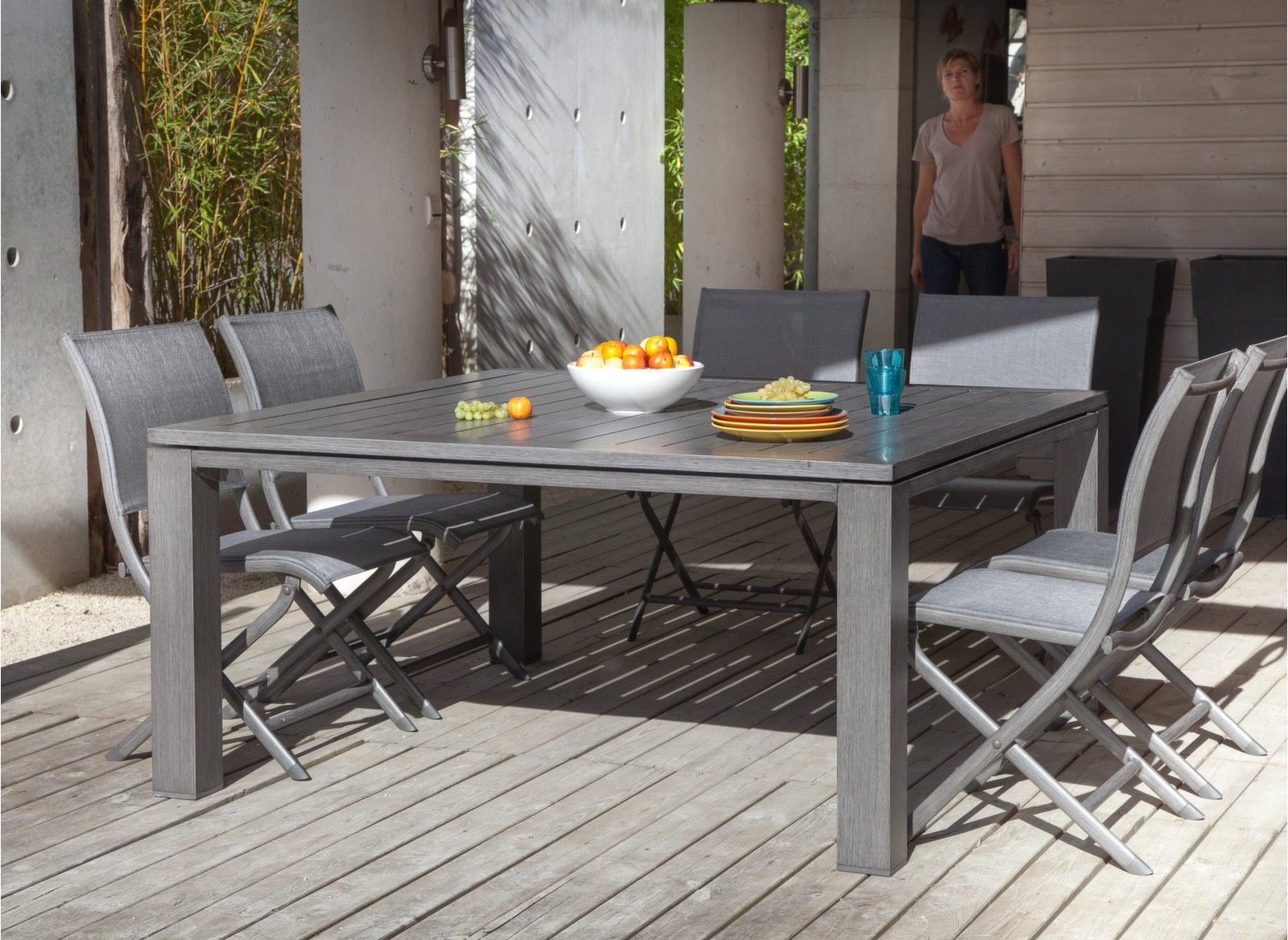 Table salon de jardin carr e 155cm gris latino oc o - Table de jardin carre ...