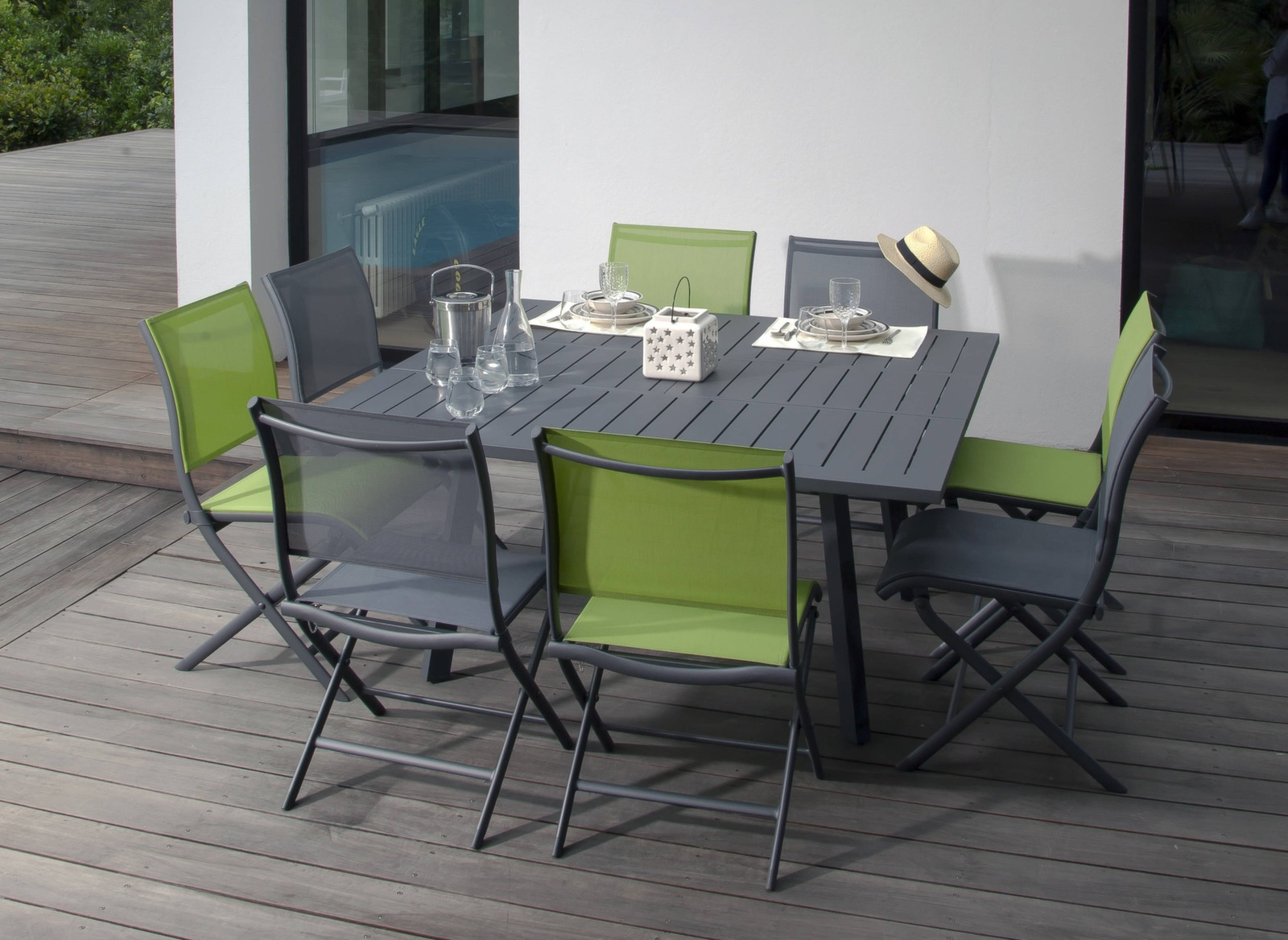 table de jardin rectangle 10 pers barcelona gamme oc o proloisirs. Black Bedroom Furniture Sets. Home Design Ideas