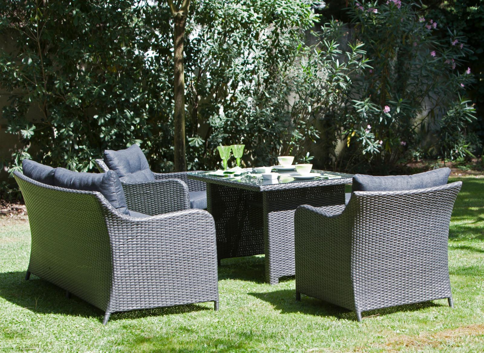 Salon de jardin repas et d tente ivory 2 meubles jardin for Salon de jardin detente