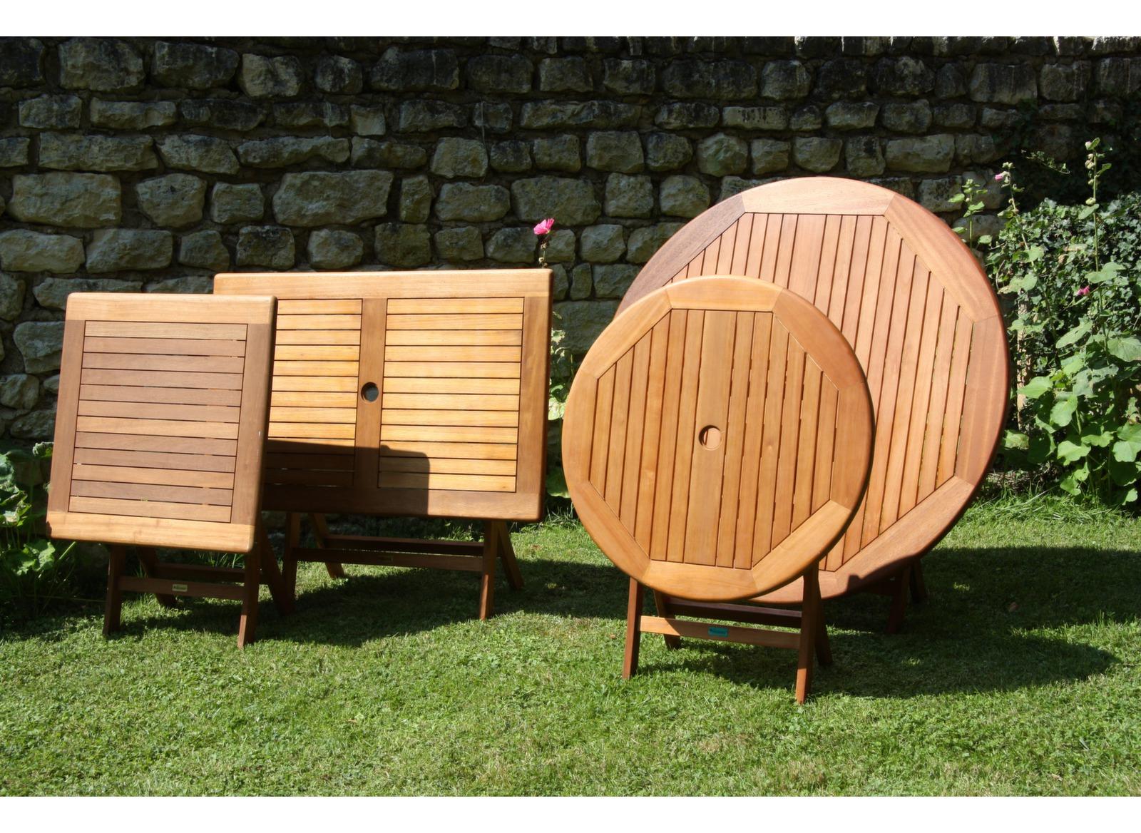 Table de jardin carrée en bois Sophie 70cm - Gamme Alizé - Proloisirs