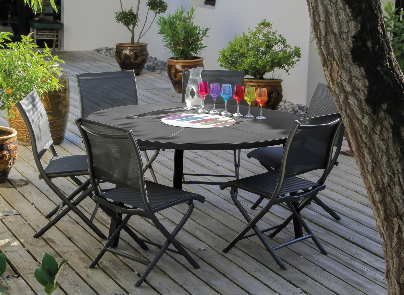 table de jardin ronde en promo azur 150cm promotions. Black Bedroom Furniture Sets. Home Design Ideas