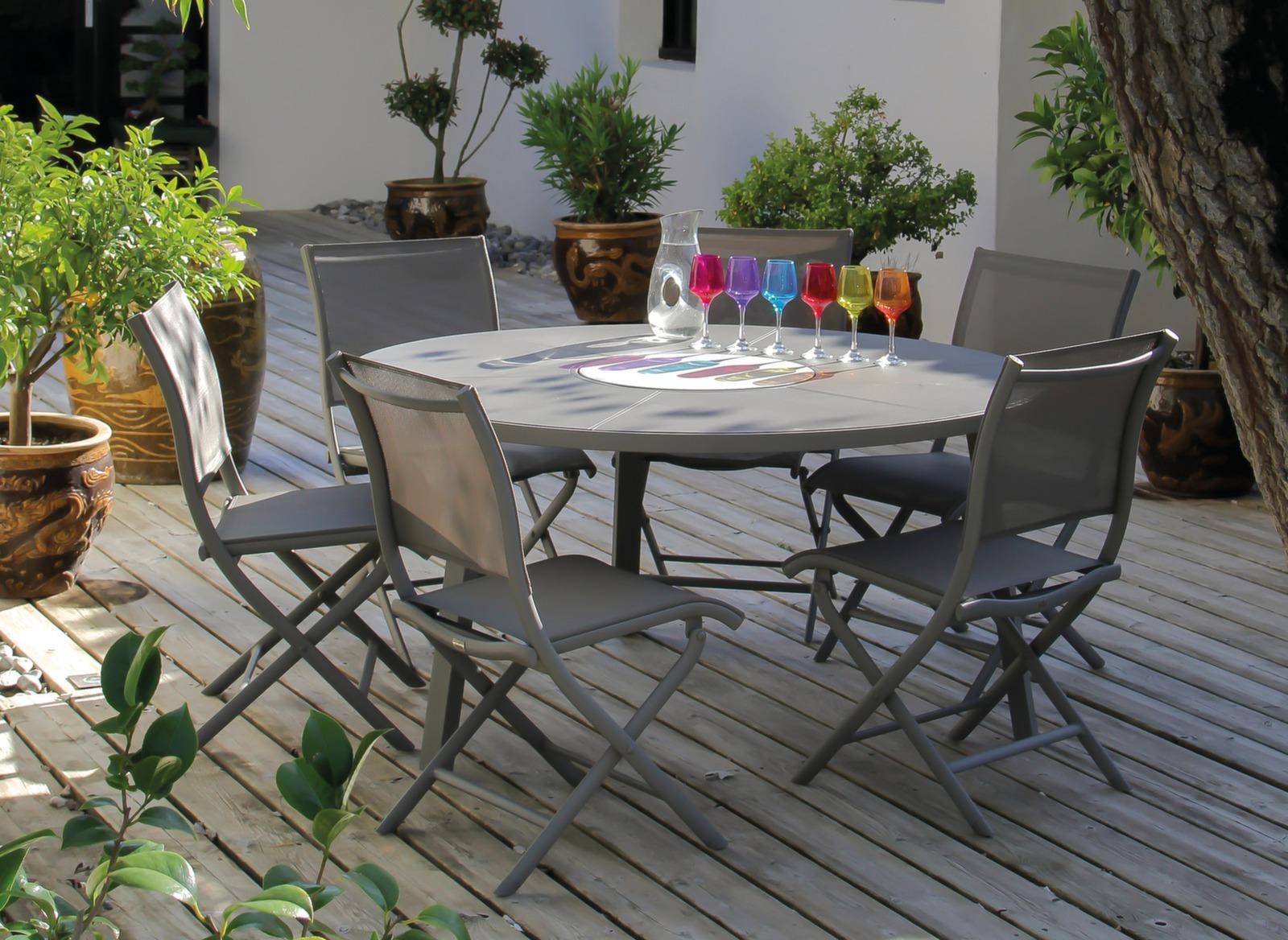 table de jardin ronde en promo azur 150cm promotions. Black Bedroom Furniture Sets. Home Design Ideas