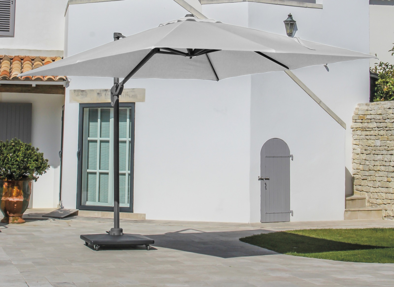 parasol d port carr 3x3m avec m t gris gamme oc o. Black Bedroom Furniture Sets. Home Design Ideas