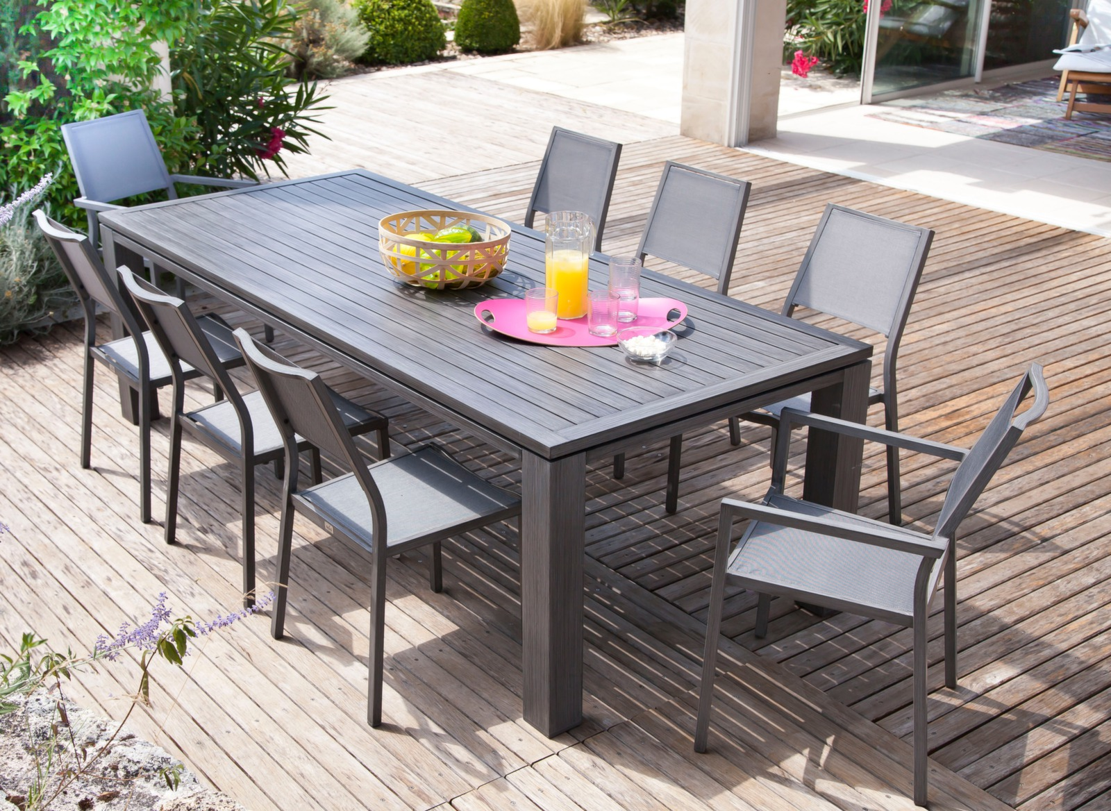 Ensemble Table Fiero 180 X 100 Cm 4 Chaises Et 2 Fauteuils Salon De Jardin Pour Le Repas